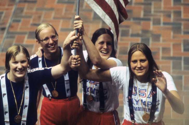 The victorious US 4x100m relay team - from left, Jill Sterkel, Wendy Boglioli, Kim Peyton and Shrley Babashoff - after their victory over East Germany at the 1976 Montreal Games ©Getty Images