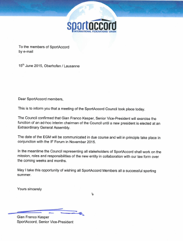 A letter sent to SportAccord members following the Council meeting today ©ITG