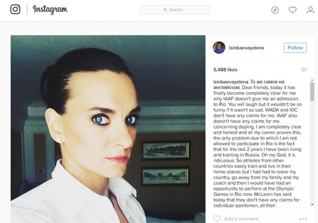 Yelena Isinbayeva has used social media to make on last ditch attempt to be allowed to compete at Rio 2016 ©Yelena Isinbayeva
