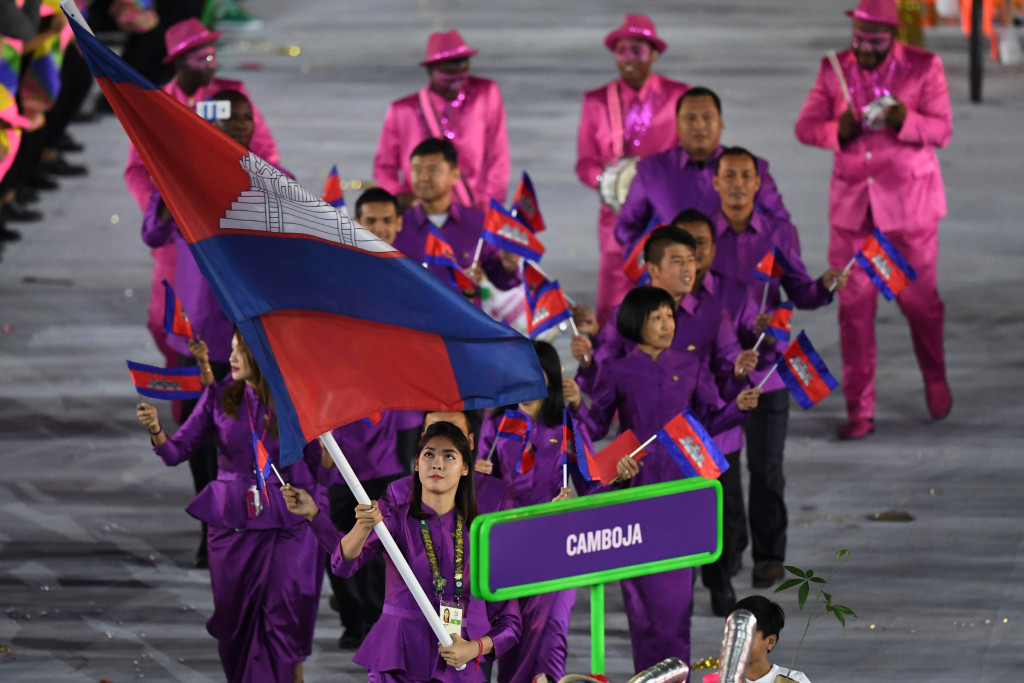 Sorn Seavmey was Cambodia's flagbearer in the Rio 2016 Opening Ceremony ©Getty Images