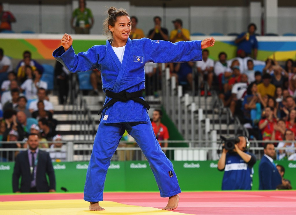 Majlinda Kelmendi became Kosovo's first-ever Olympic medallist with victory in the women's under 52kg at Rio 2016 ©Getty Images