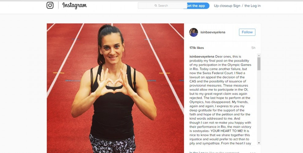 Russia's double Olympic pole vault champion Yelena Isinbayeva has revealed on her instagram account that she will travel to Rio next Sunday to campaign for election to the IOC Athletes' Commission ©Yelena Isinbayeva