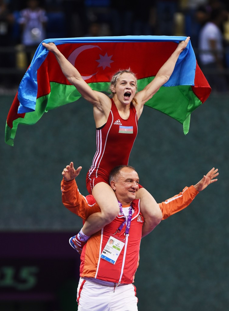 Azerbaijan celebrate Baku 2015 gold medal as women's wrestling events begin