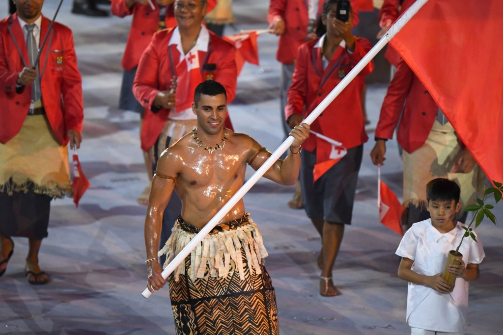 Pita Nikolas Taufatofua was Tonga's flagbearer and became an internet sensation on the back of it ©Getty Images