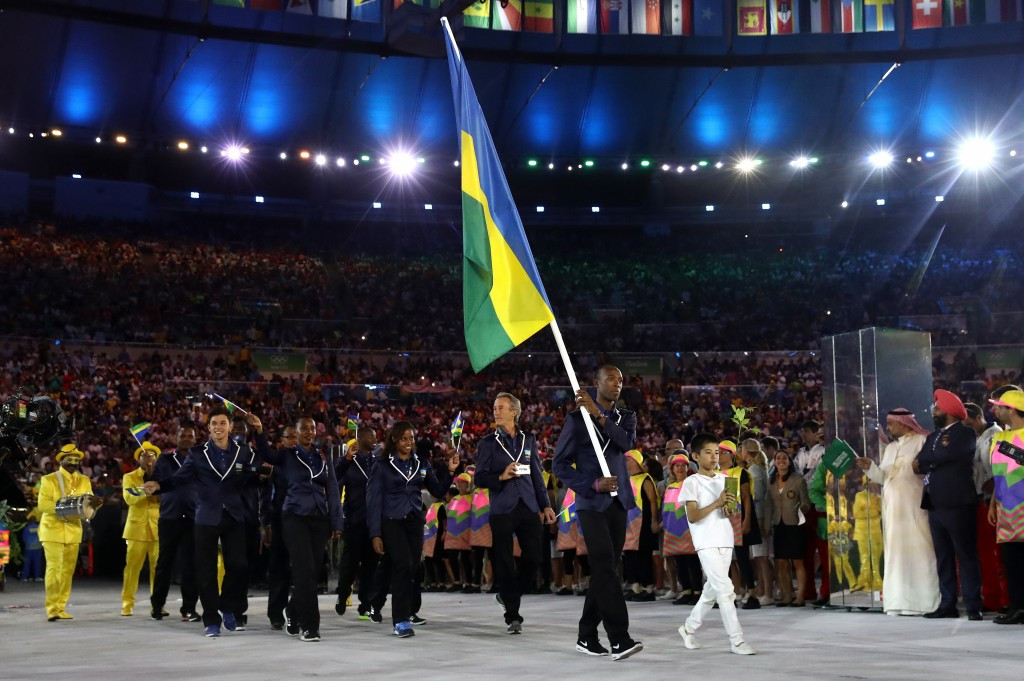 A total of eight taekwondo athletes had the honour of representing their country as flagbearers at the Rio 2016 Opening Ceremony, including London 2012 silver medallist Anthony Obame of Gabon ©Getty Images
