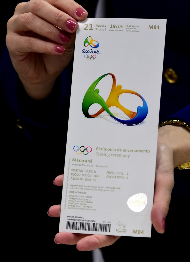 A ticket for the Olympic Closing Ceremony was among those allgedly been sold on the black market seized from British company THG Sports by Brazilian police ©Getty Images