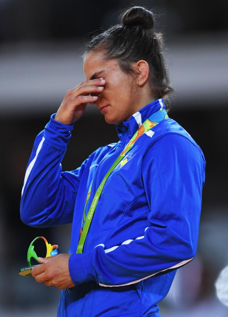 Majlinda Kelmendi shows her emotions during the under 52kg medal ceremony ©Getty Images