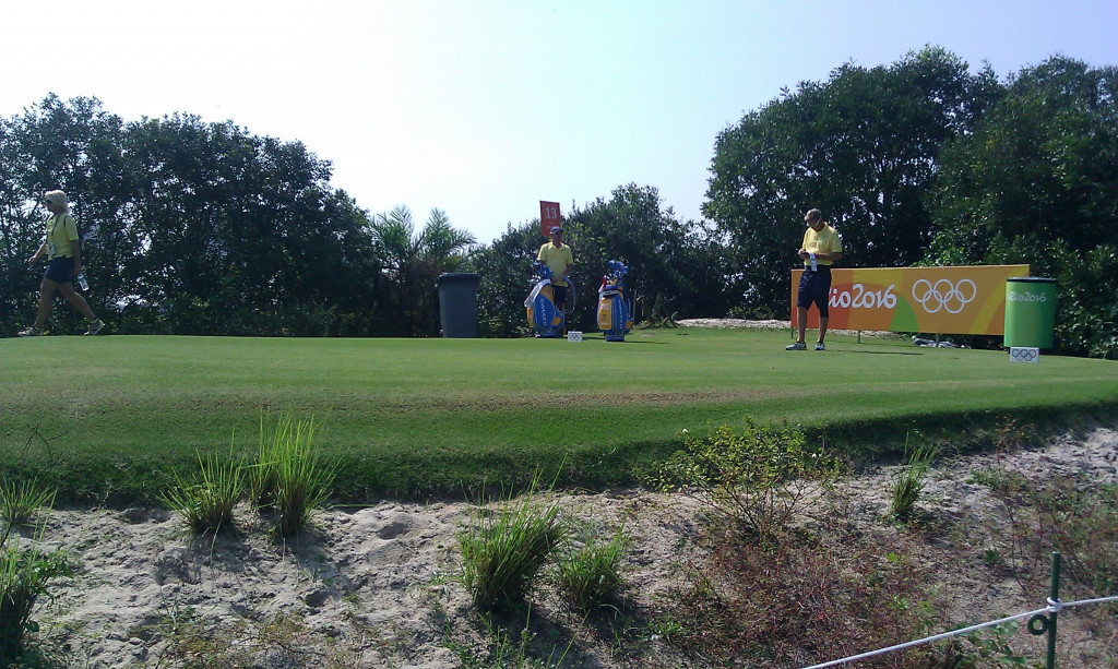 Open champion Henrik Stenson tests out the Olympic course ©ITG