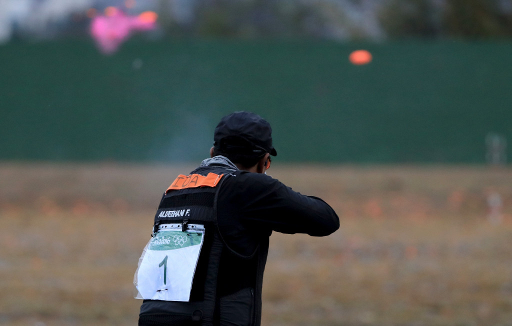 Fehaid Al-Deehani  became the first ever Independent Olympic Athlete to win a gold medal after winning the men's double trap competition ©Getty Images