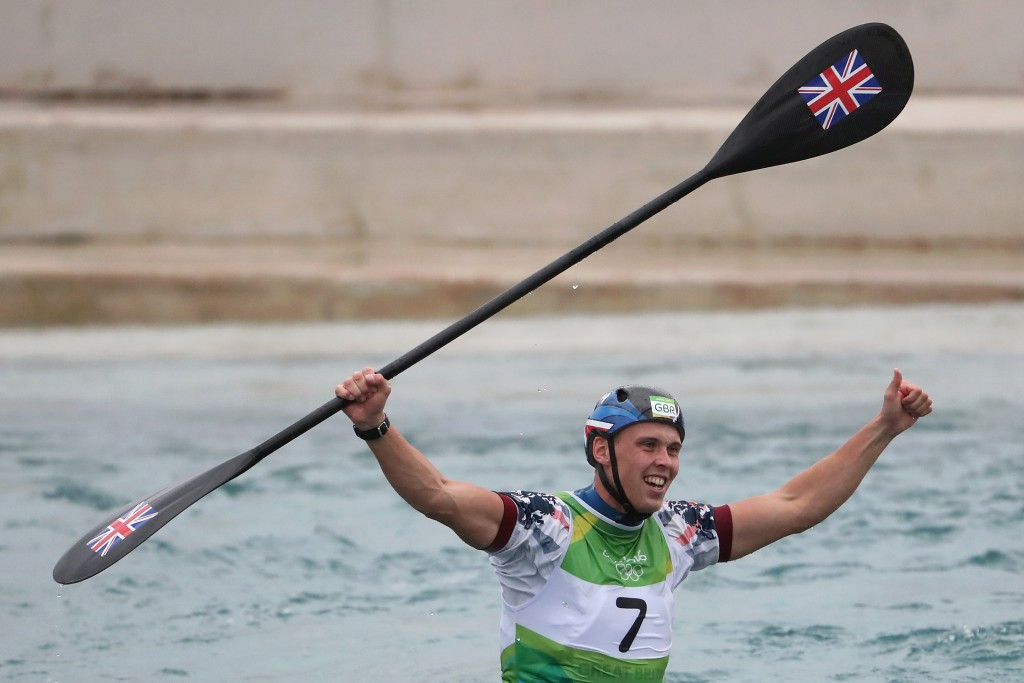 Joseph Clarke secured Great Britain's second gold medal of the Rio 2016 Olympic Games after winning the men's K1 canoe slalom competition at the Whitewater Stadium ©Getty Images