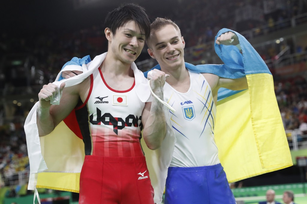 Kōhei Uchimura and Oleg Verniaiev played out a titanic dual before the Japanese gymnast ended up on top ©Getty Images