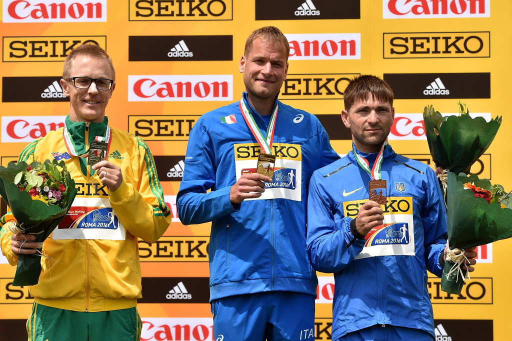 Australia's Jared Tallent, left, and Ukraine's Igor Glavan, right, are set to be promoted to the gold and silver medals at the IAAF Race Walking Championships after Alex Schwarzer was disqualified ©Getty Images