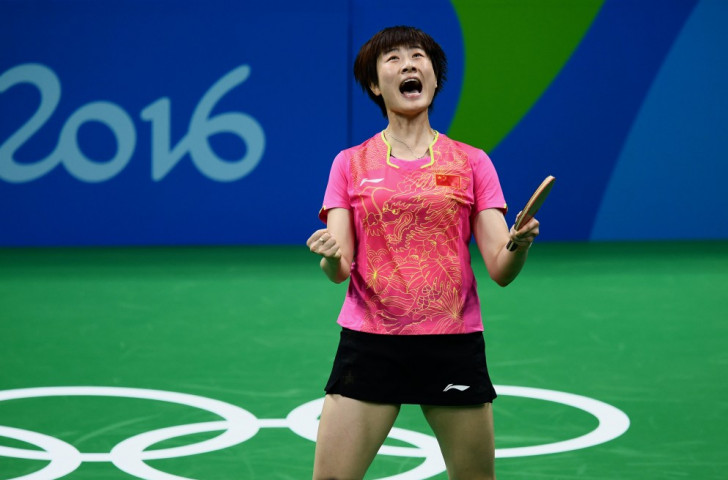 Ding Ning winning....the joy is evident as she reverses the result of the London 2012 final against Chinese compatriot Li Xiaoxia ©Getty Images