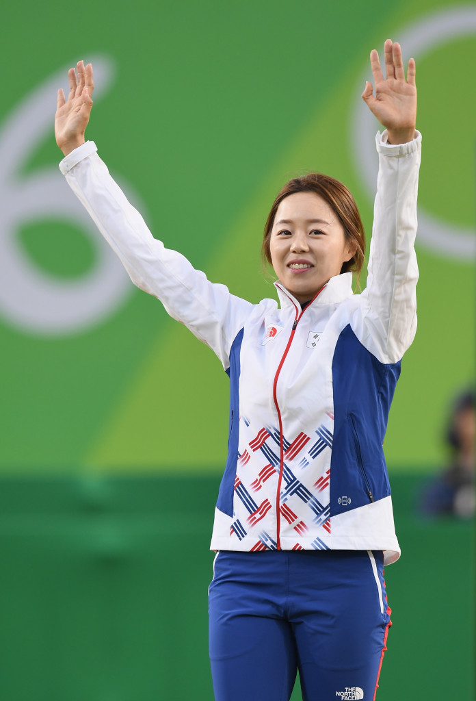 Chang Hye-jin was also part of the South Korea trio who extended their remarkable winning streak in the women's team archery event to eight straight Olympic Games ©Getty Images