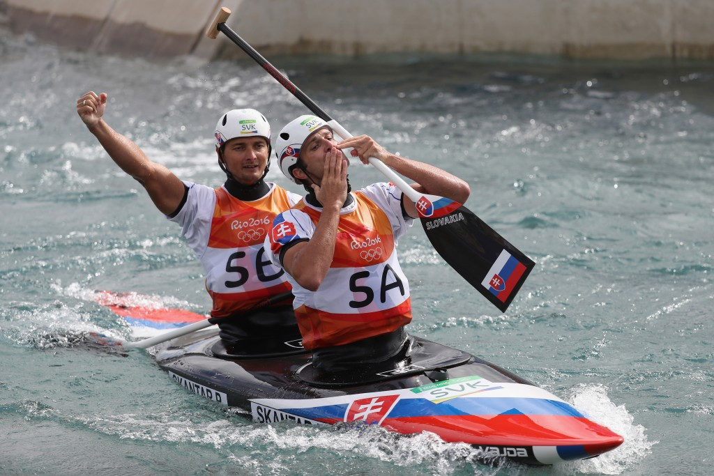 Slovakian cousins Ladislav and Peter Škantár sealed the Olympic men's C2 canoe slalom title ©Getty Images