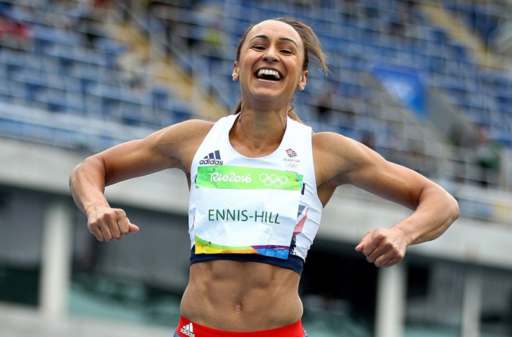 Jessica Ennis-Hill, Britain's defending heptathlon champion, bounces with glee on the high jump landing mat after clearing 1.89m, her best effort in more than four years ©Getty Images