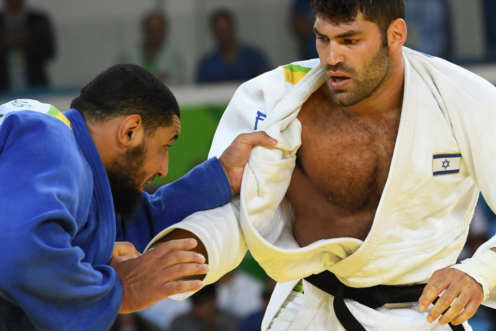 Or Sasson, right, had defeated Islam El Shehaby of Egypt in the over 100kg division