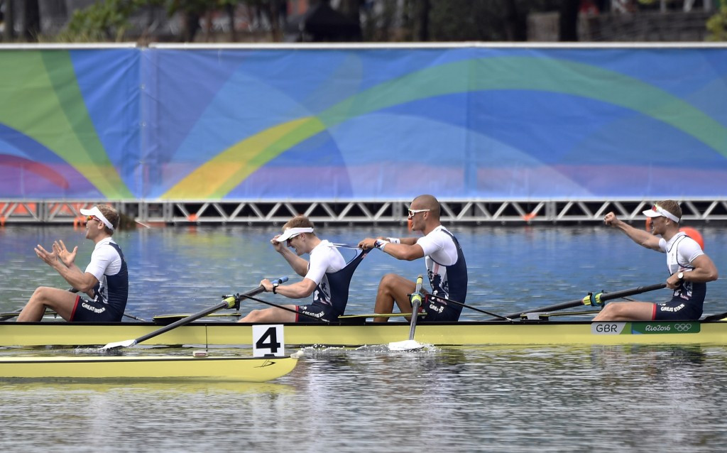 Great Britain claimed a quickfire double gold in rowing today as the men's four, pictured, romped to victory less than 15 minutes after Helen Glover and Heather Stanning defended their women's pair crown ©Getty Images