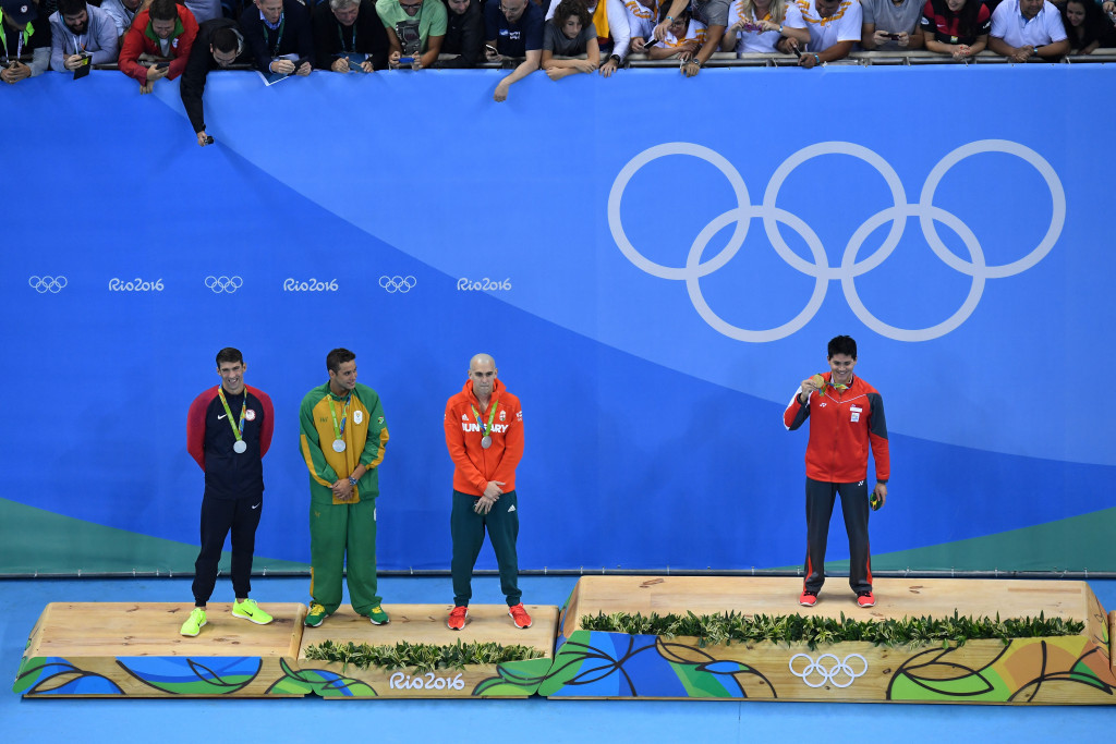 Joseph Schooling claimed a historic 100m butterfly gold as three men shared silver ©Getty Images