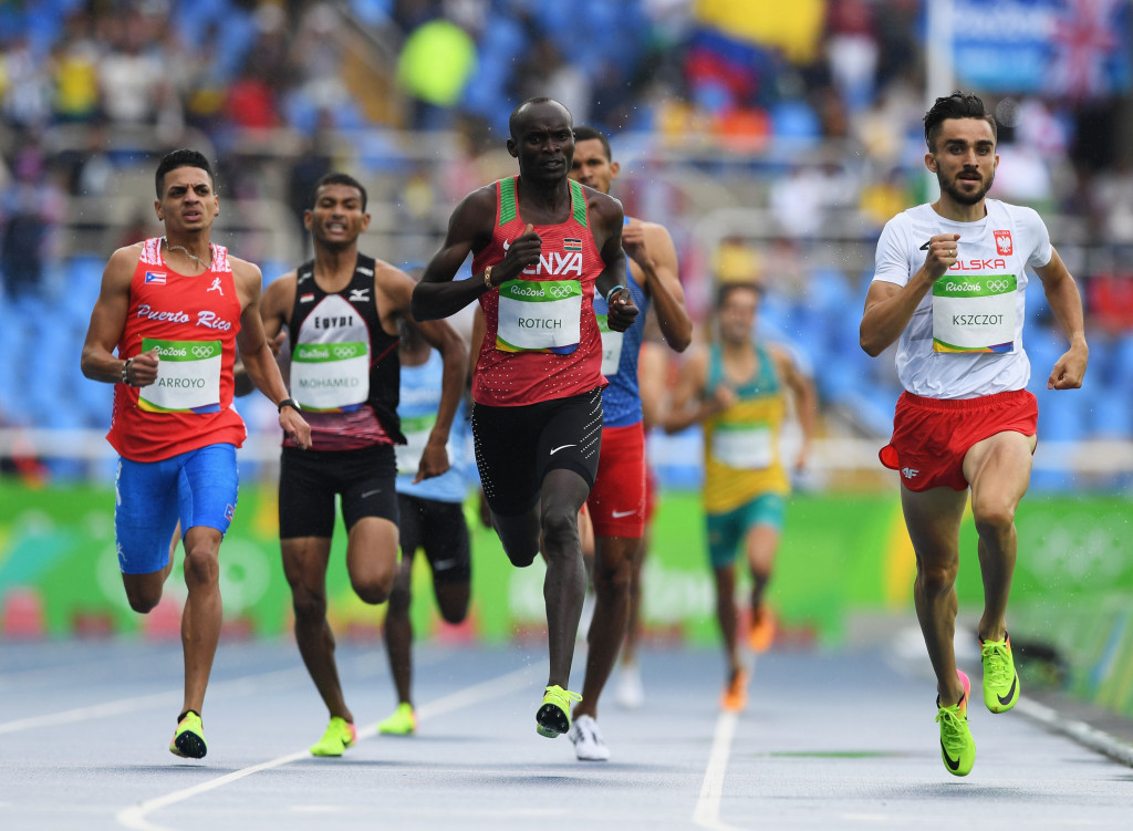 Kenya's Ferguson Rotich was allowed to compete in the first round of the 800m at Rio 2016 despite a coach being sent home after being found wearing his accreditation when the runner was selected for a drugs test ©Getty Images