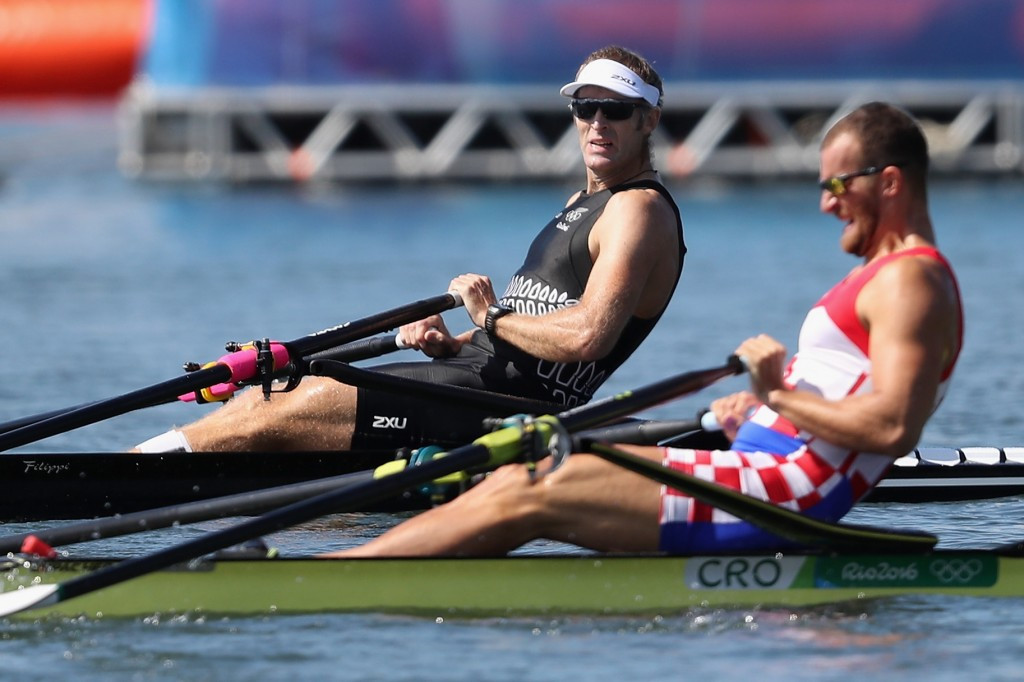 New Zealand's Mahe Drysdale beat Croatia's Damir Martin in a tight race in the single sculls event where both rowers were awarded the same time ©Getty Images