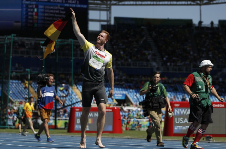 Christoph Harting celebrates a dramatic, final-effort win in the discus but he resisted a repeat of his elder brother Robert's shirt-ripping activity in the wake his London 2012 win ©Getty Images
