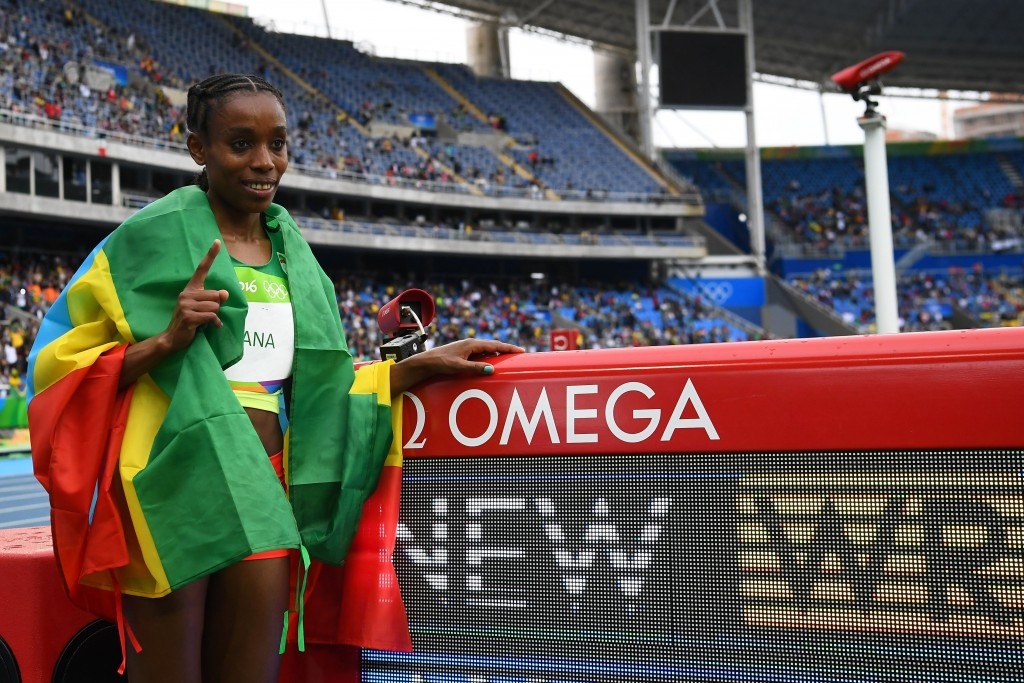 Almaz Ayana broke the world 10,000 metres record when winning the Olympic gold medal at Rio 2016 ©Getty Images