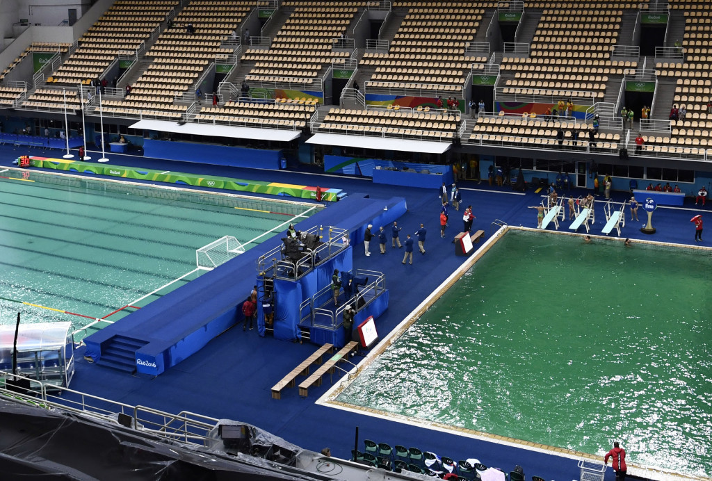 The green colour of the diving pool has prompted huge concerns in recent days ©Getty Images