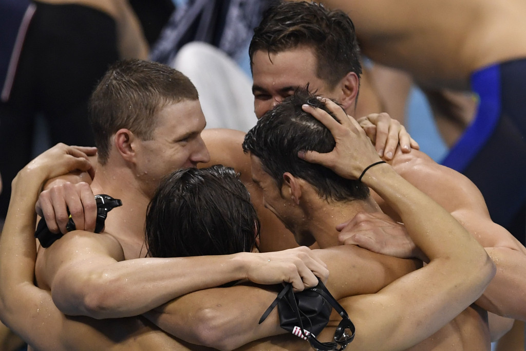 United States celebrate medley relay gold in the final pool race of the Olympics ©Getty Images