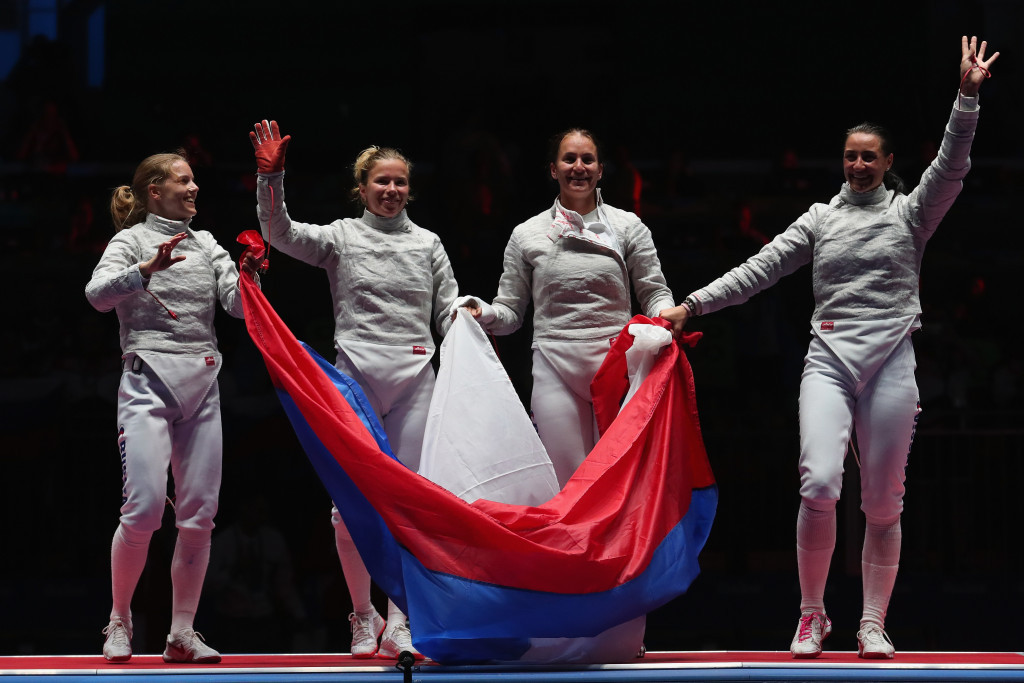 Russia beat Ukraine to fencing gold in the women's sabre event ©Getty Images