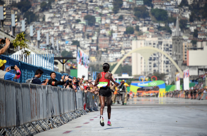 Jemima Sumgong heads for home - and Kenya's first Olympic women's marathon gold medal - at the Sambodromo, home to the Rio Carnival Parade ©Getty Images