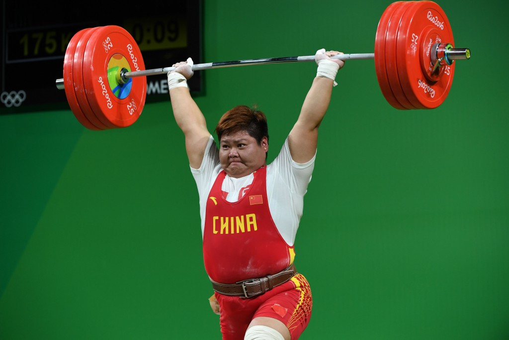 Meng Suping claimed China's fifth weightlifting gold medal of these Olympic Games after winning the women's over 75kg category ©Getty Images