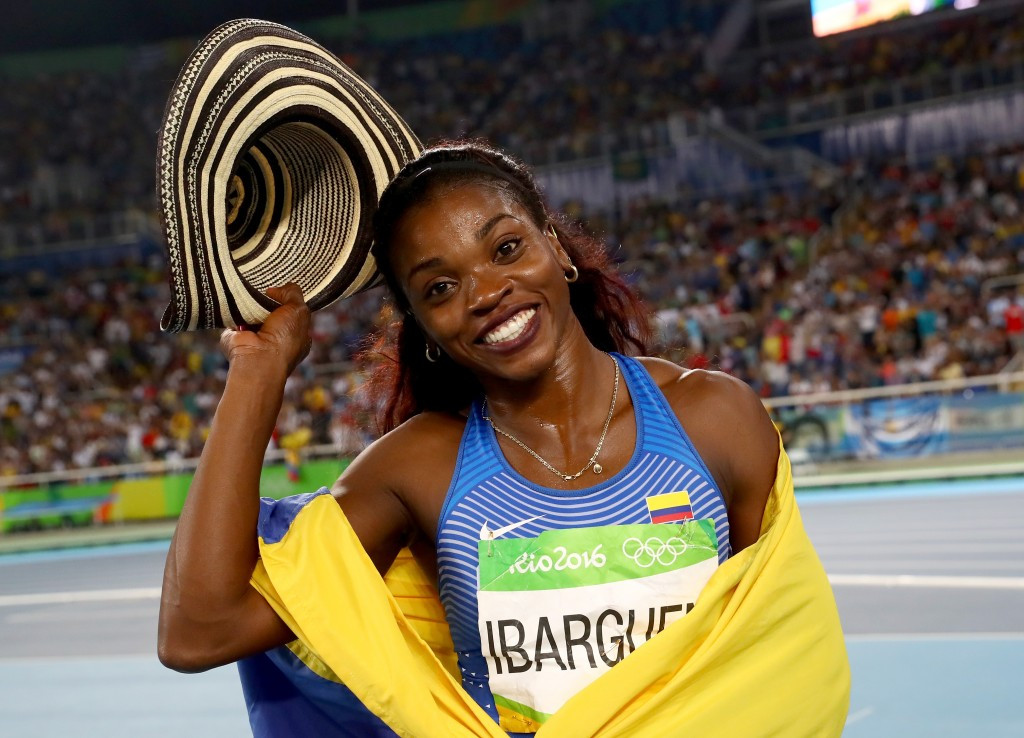 Colombia's Caterine Ibarguen celebrates winning the gold medal in the triple jump, four years after having to settle for silver at London 2012 ©Getty Images