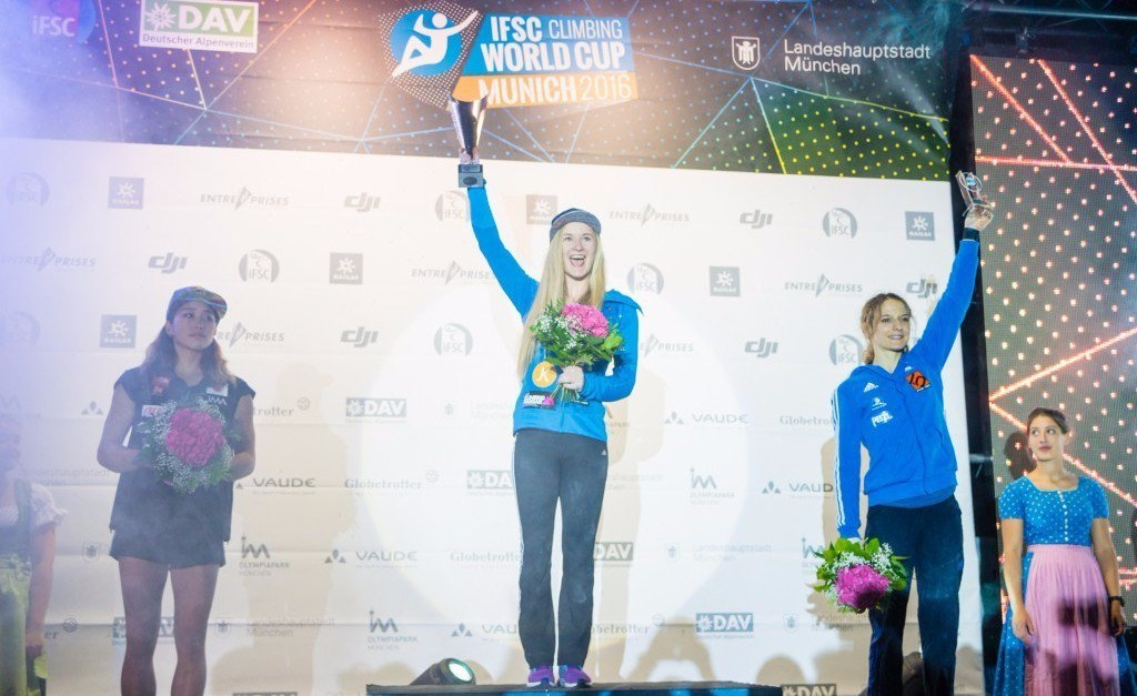 The final bouldering World Cup was held in Munich, with Shauna Coxsey topping the women's overall podium ©Eddie Fowke/IFSC