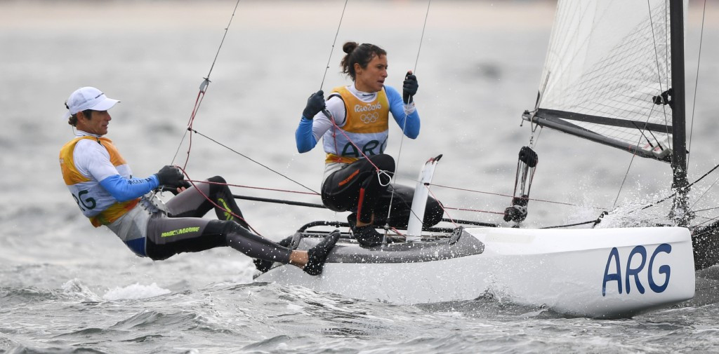 Santiago Lange and Cecilia Carranza Saroli became the first sailors to win the Nacra 17 gold ©Getty Images