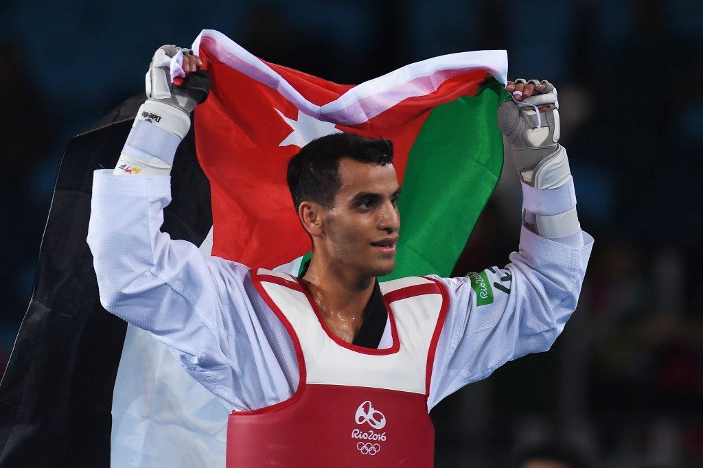 Ahmad Abughaush celebrates Jordan's first Olympic medal ©Getty Images