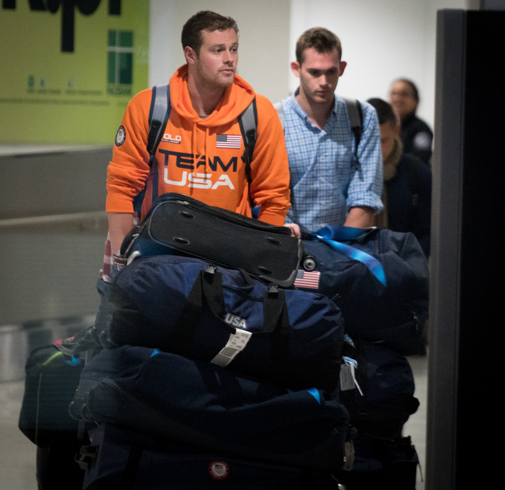 Ryan Lochte's team-mates Gunnar Bentz and Jack Conger have landed in Miami after belatedly leaving Brazil ©Getty Images