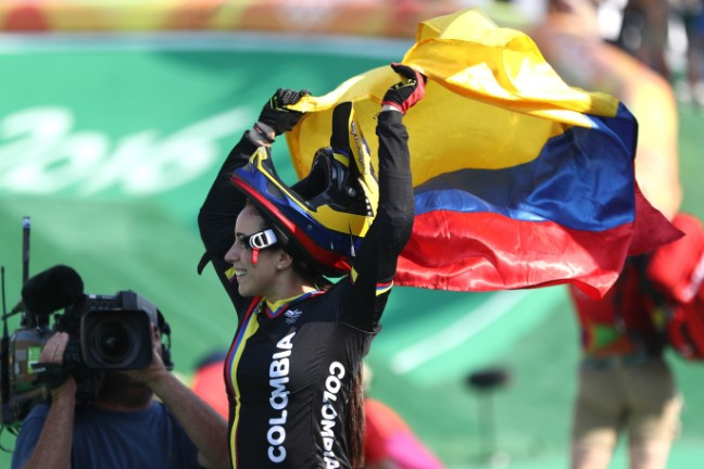 Colombia's Mariana Pajon celebrates another Olympic BMX gold medal ©Getty Images