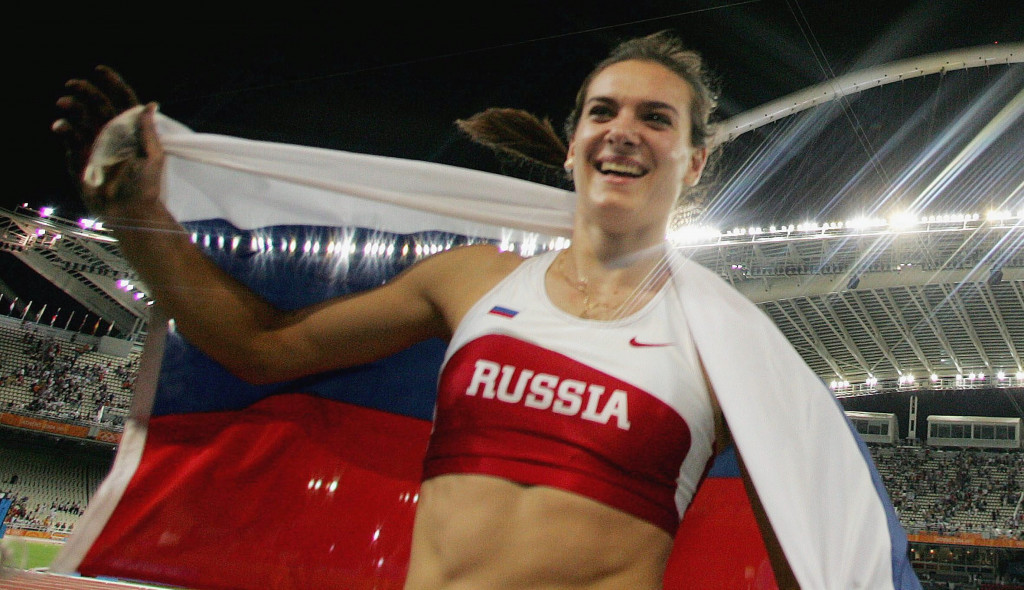 Yelena Isinbayeva won the first of her two Olympic gold medals at Athens 2004