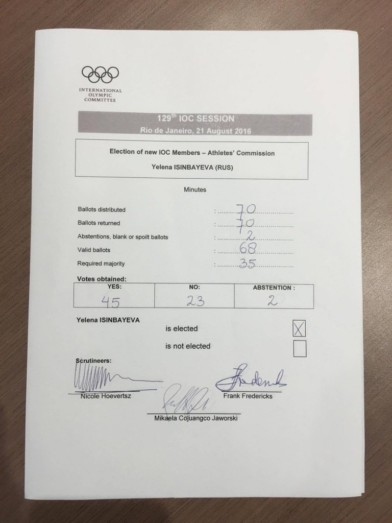Yelena Isinbayeva has been approved on the IOC Athletes' Commission, but far from unanimously ©IOC