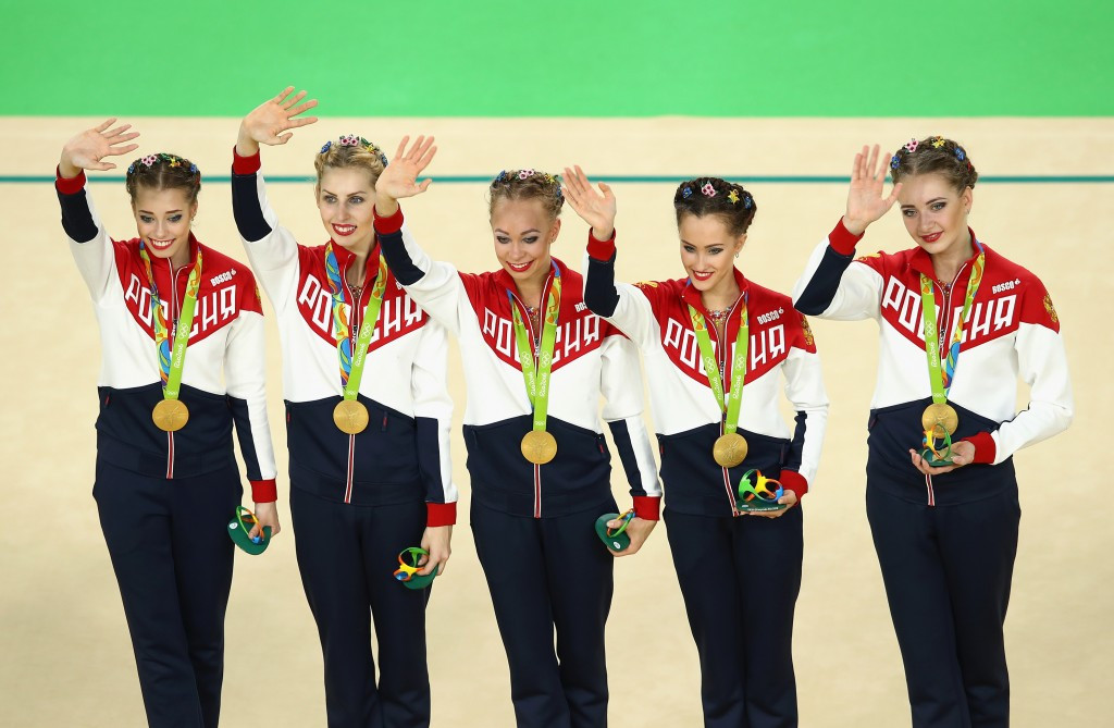 Russia have won their fifth consecutive title in the rhythmic gymnastics group final ©Getty Images