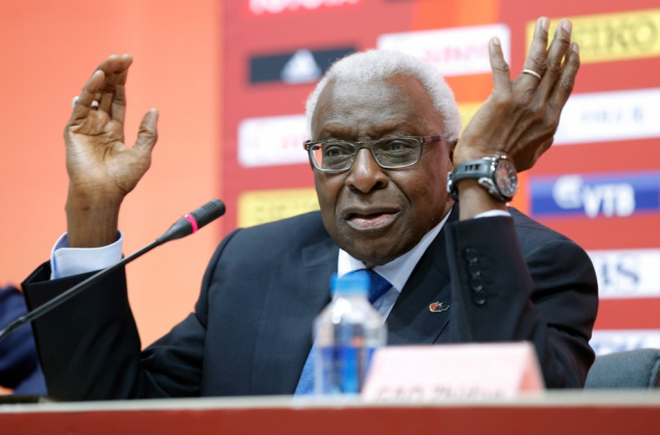 Outgoing IAAF President Lamine Diack at a press conference during the IAAF World Championships in Beijing last August. Within three months he was arrested by French police on suspicion of corruption charges ©Getty Images
