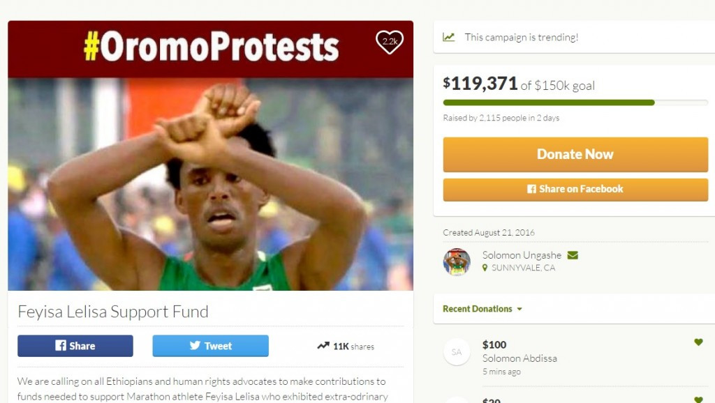 A crowdfunding campaign has been set up in support of Feyisa Lilesa ©GoFundMe