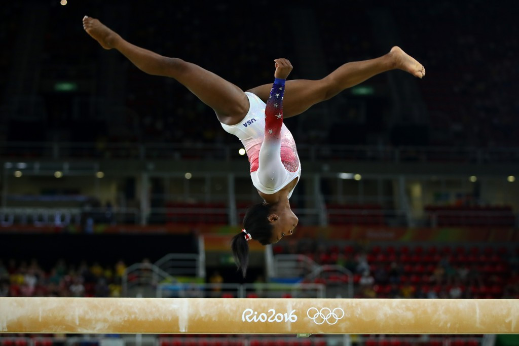 Simone Biles, who became the first American gymnast to win four golds at a single Games, is in the running for the Female Athlete of the Olympic Games award ©Getty Images