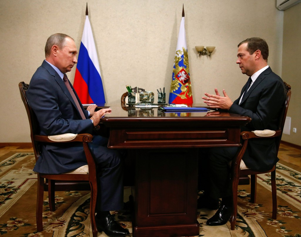 The bonus scheme for athletes prevented from competing at Rio 2016 was announced by Russia's Prime Minister (right) ©Getty Images
