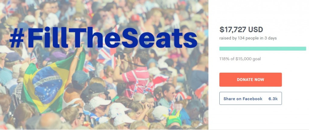 A campaign entitled #FillTheSeats has been launched in a bid to get Brazilian children to fill empty seats at the Rio 2016 Paralympics ©Generosity.com