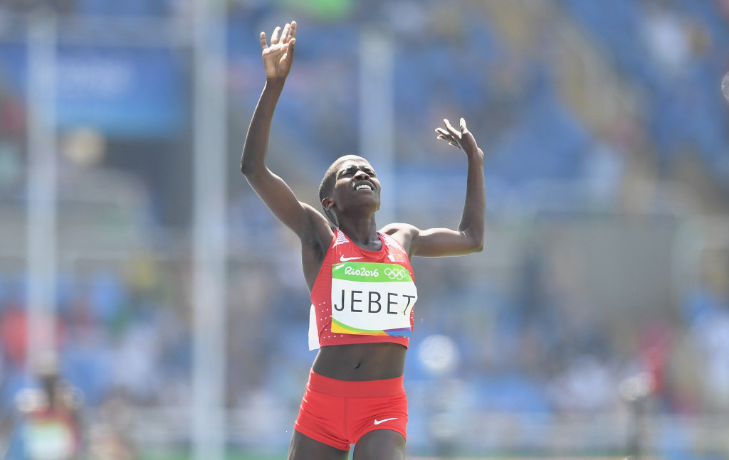 Ruth Jebet of Bahrain took six seconds off the world 3000m steeplechase record in Paris ©Getty Images