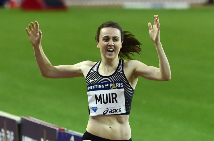 Britain's Laura Muir wins the 1500m at the IAAF Diamond League meeting in Paris in 3:55.22, improving her British record and setting the fastest time run this season ©Getty Images