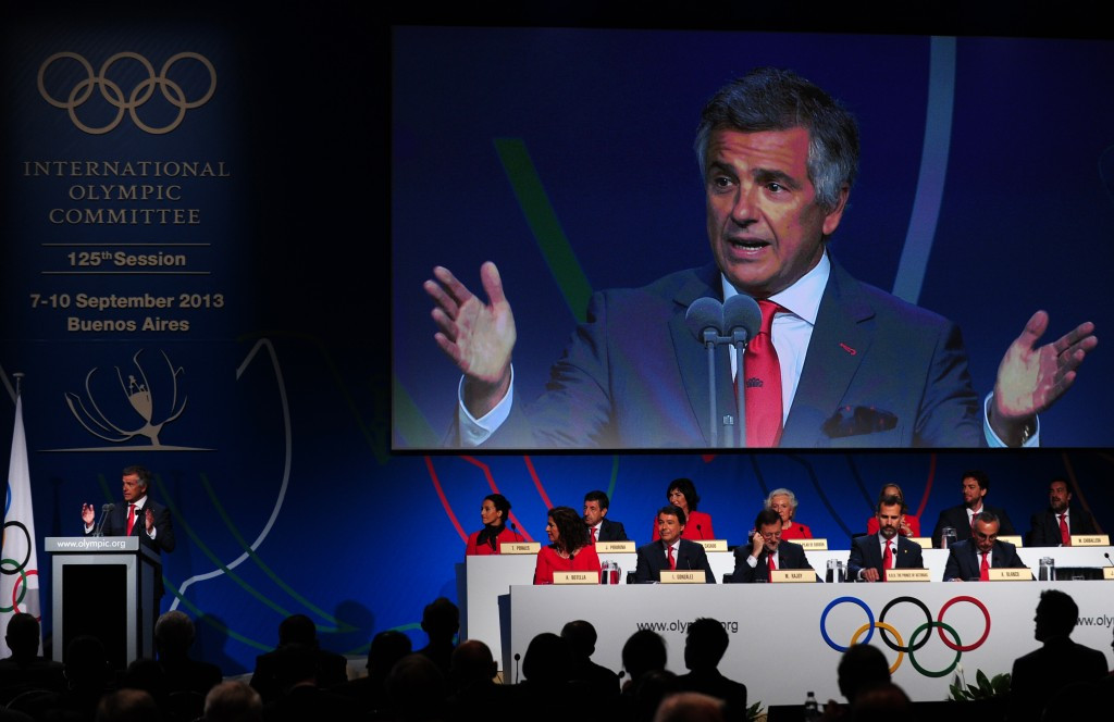IOC member Juan Antonio Samaranch Salisachs speaks during the final presentation of the unsuccessful Madrid 2020 bid in Buenos Aires ©Getty Images