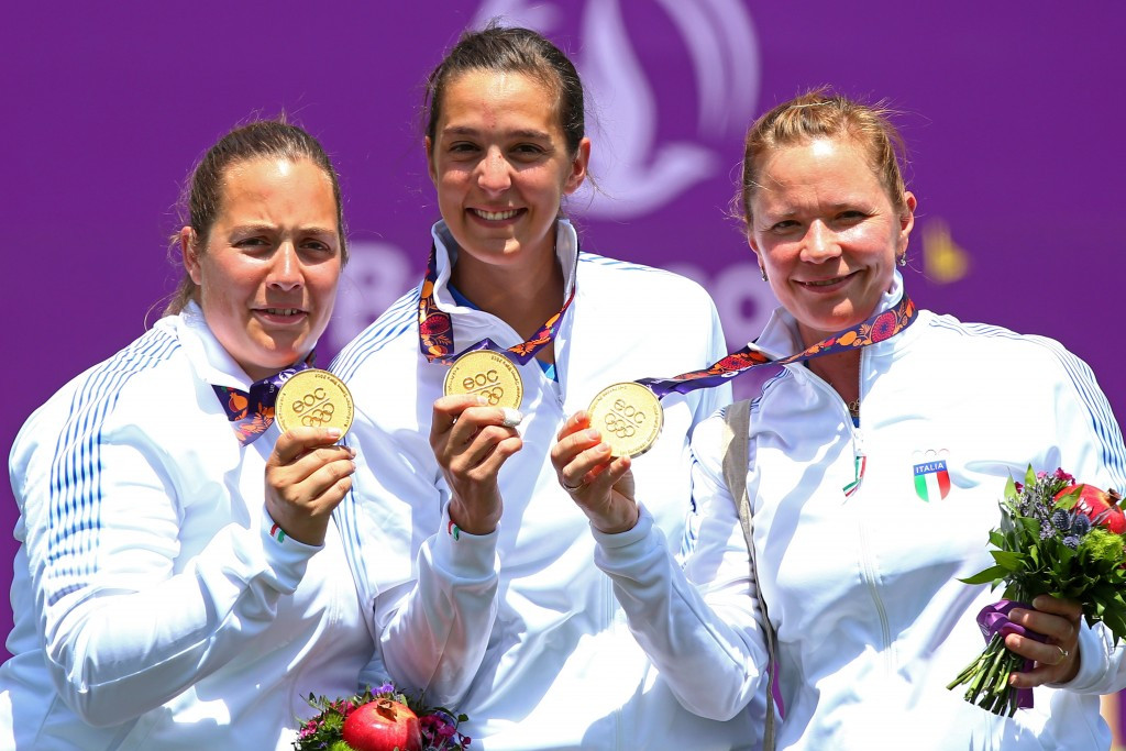 Italy take second Baku 2015 archery gold in as many days after women's team event triumph